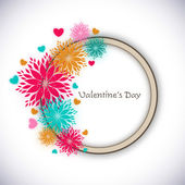 Happy Valentines Day greeting card, gift card with colorful flow — ストックベクタ