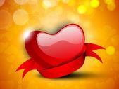 счастливый день валентина фон с глянцевой красное сердце с ленточ — Cтоковый вектор