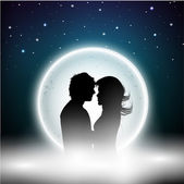 Beautiful St. Valentine's Day night background with silhouette o — Stock Vector
