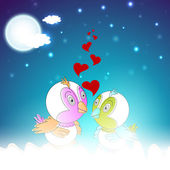 Valentine's Day love card or greeting card with cute love birds. — Stock Vector