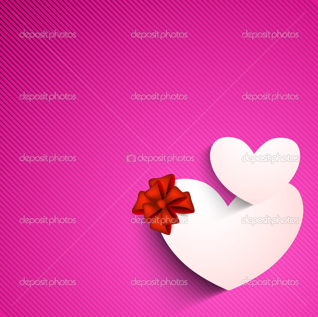 Valentines Day background with sticky, label or tag in heart shape on pink background.  — Stock Vector #19657239