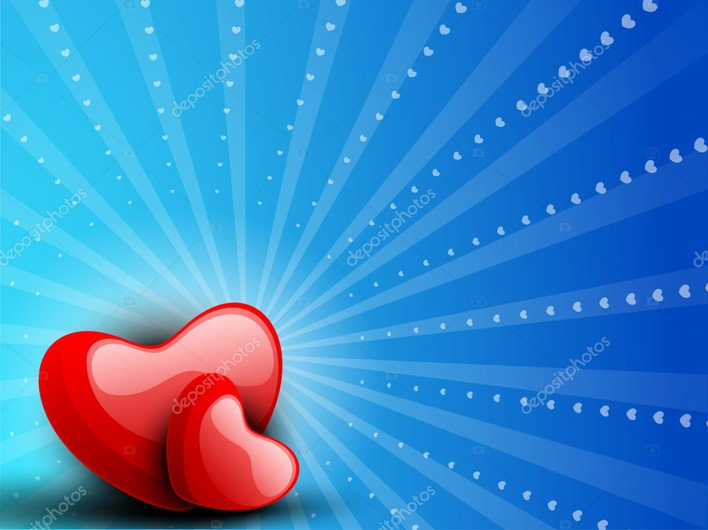 Happy Valentine's Day background with glossy red hearts on blue shiny rays background. EPS 10.  — Stock Vector #19657811
