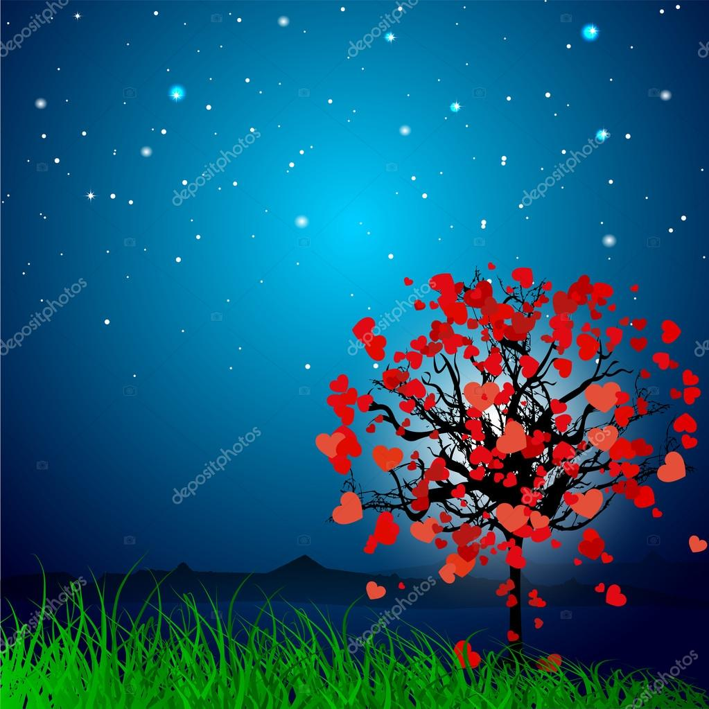 Valentine's Day love card or greeting card with love tree on grey background. EPS 10.  — Stock Vector #19657813