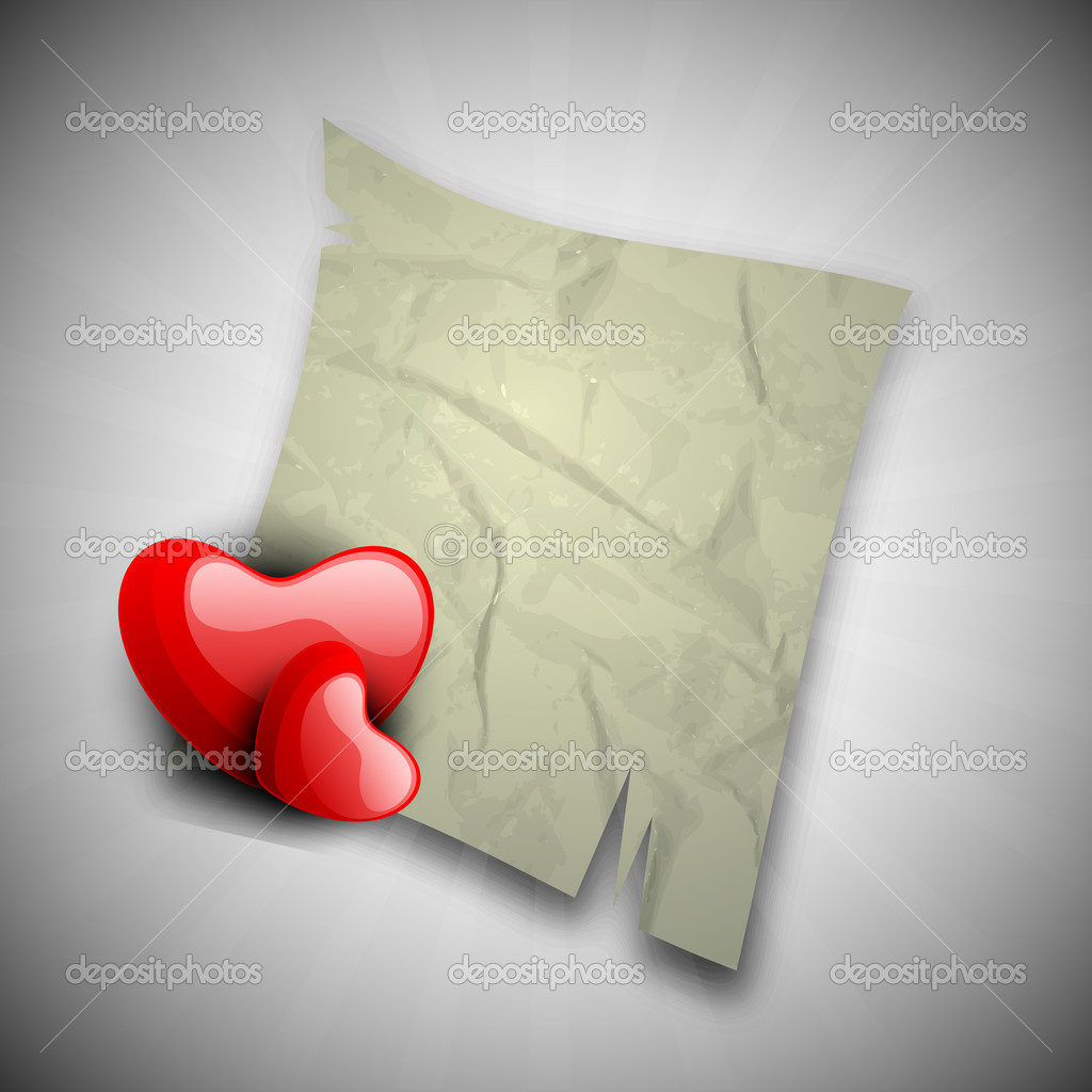 Happy Valentine's Day background with glossy red hearts and paper note on grey background. EPS 10.  — Stock Vector #19657817