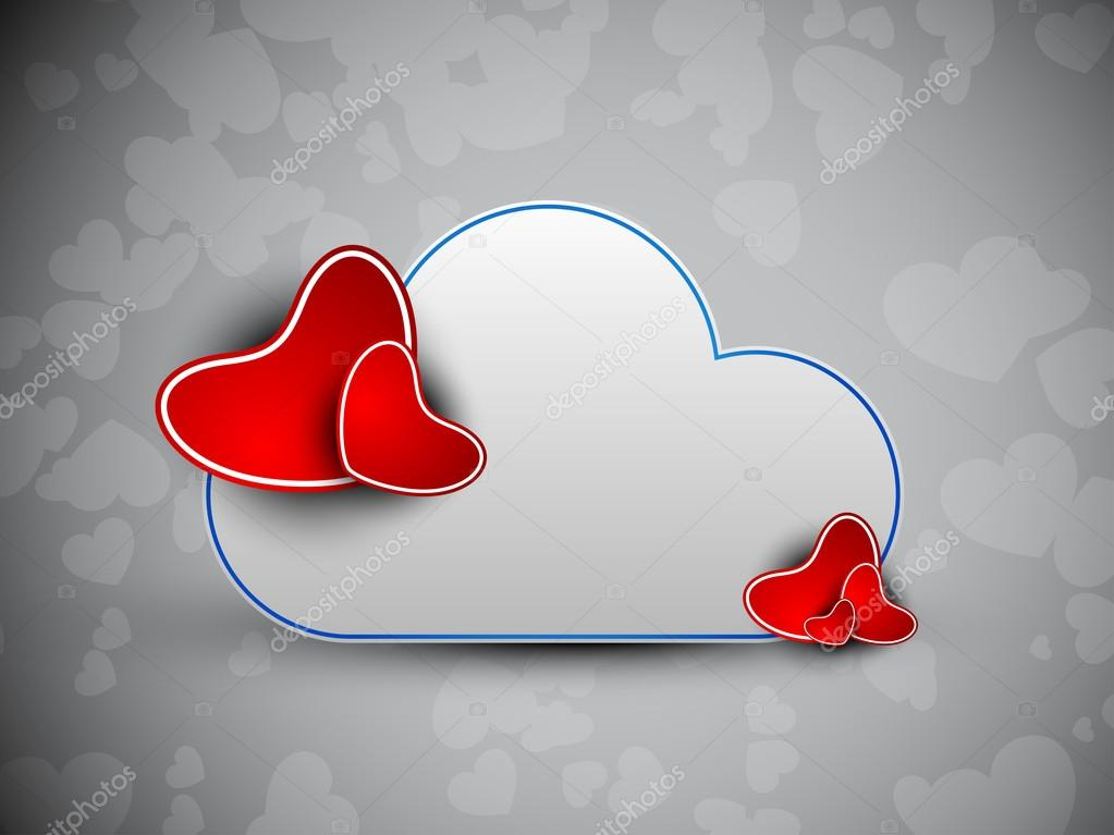 Happy Valentine's Day background with paper red hearts and cloud on grey background. EPS 10.  — Stock Vector #19657825