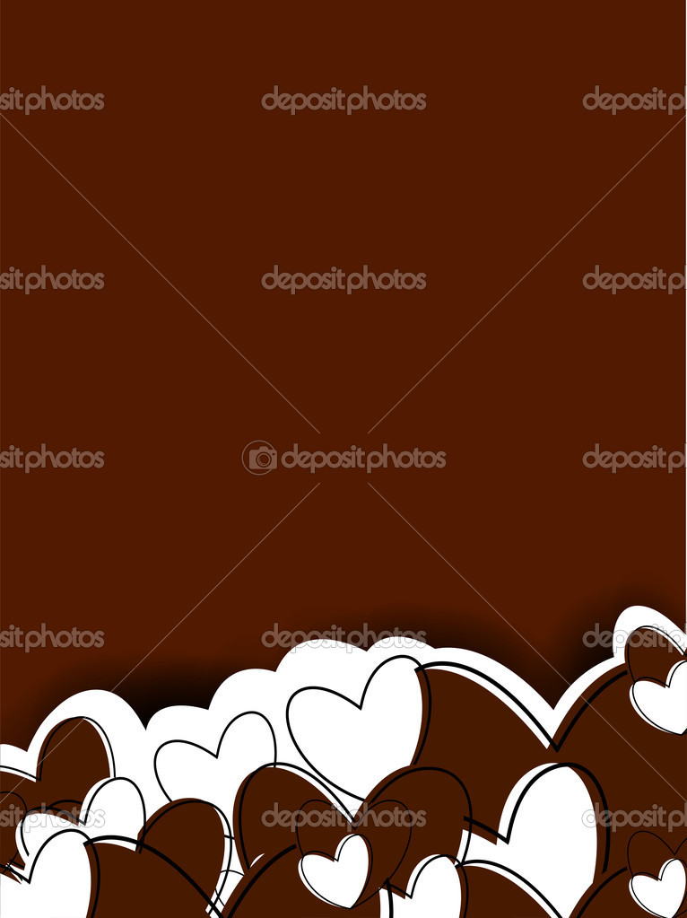 Happy Valentine's Day background with hearts and space for your love message on chocolate brown background. EPS 10.  — Stock Vector #19657851