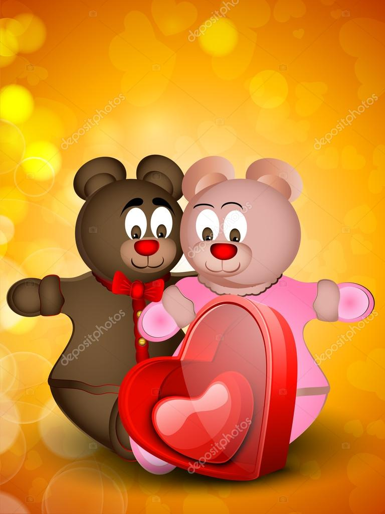 Happy Valentines Day background,, gift card or greeting card with two teddy bears in love,  — Stock Vector #19657871