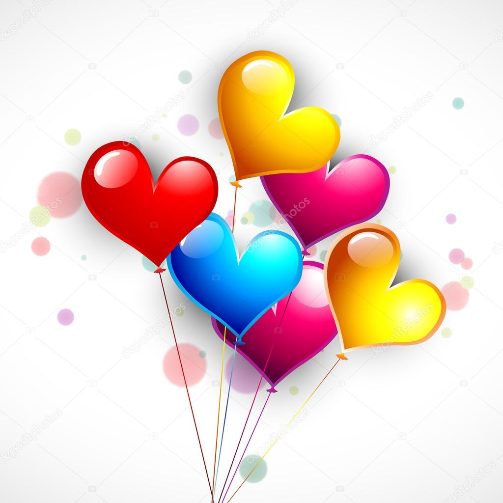 Happy Valentine's Day background with glossy colorful hearts balloons. EPS 10.  — Stock Vector #19657891