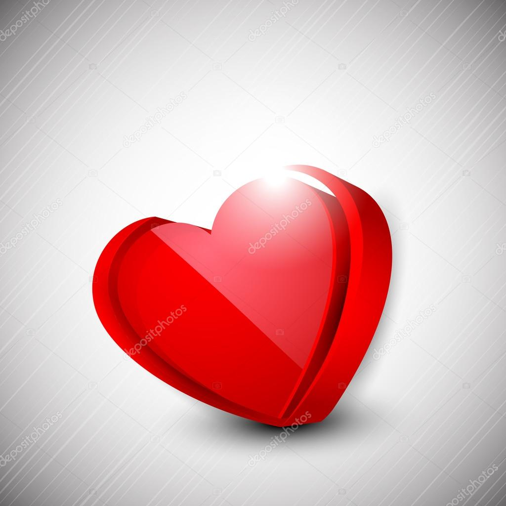 Happy Valentine's Day background with glossy red heart on grey background, 3D love concept. EPS 10.   Stock Vector #19657895