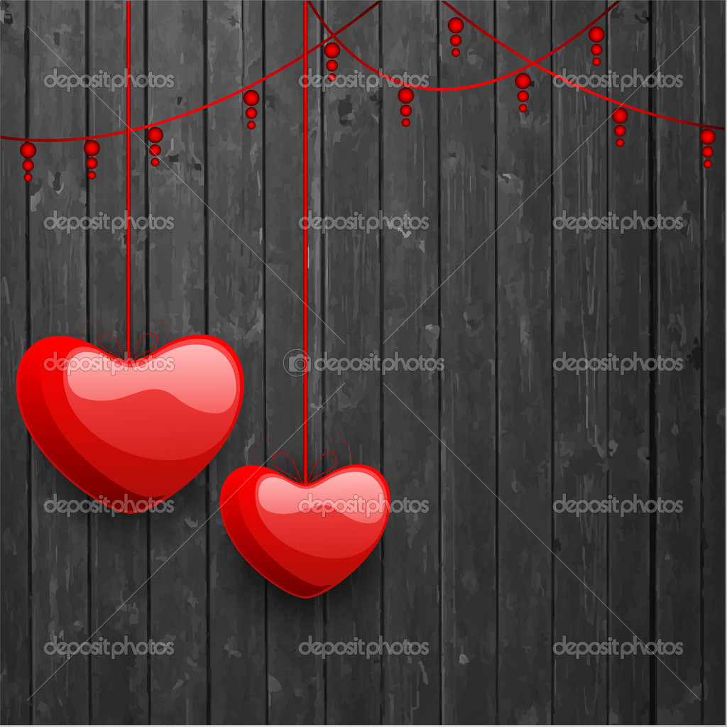 Happy Valentine's Day love background, greeting card with glossy hanging red hearts on grey background. EPS 10.   Stock Vector #19657985