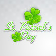Irish four leaf lucky clovers background with text St. Patrick's — Stock Vector