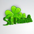 Irish shamrocks leaves background with text St. Patrick's Day. E — Stock Vector