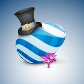 Bel oeuf de pâques peints avec chapeau et fleur rose, — Vecteur