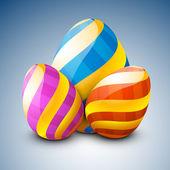 Mooi beschilderde pasen eieren op blauwe achtergrond. — Stockvector