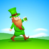 Saint Patrick's Day background with happy leprechaun drinking gr — Stock Vector