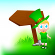 A cute little boy wearing leprechaun hat for Happy St. Patrick's — Stock Vector