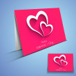 Beautiful Valentine's Day greeting card with hearts design. — Stok Vektör