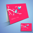 Beautiful Valentine's Day greeting card with hearts design. - Stock vektor