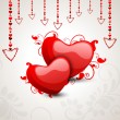 Happy Valentine's Day love background, greeting card with glossy — Vektorgrafik