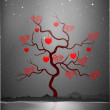 Valentine's Day love card or greeting card with love tree on gre - Stock Vector