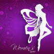 Happy Women's Day greeting card or background with white silhoue — Image vectorielle