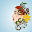 Happy Women's Day greeting card or background with a portrait of - Stock Vector