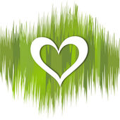 Heart shape on green background for Valentines Day. — Stok Vektör