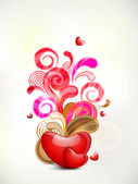 Happy Valentine's Day background with glossy heart on on colorfu — Stockvector