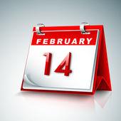 Kalender mit datum 14 februar, happy valentines day-konzept. — Stockvektor