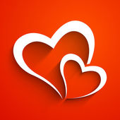 Love concept with hearts on red background. — Vector de stock