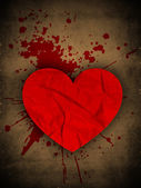 Happy Valentine's Day grungy brown background with red heart and — Stock Vector