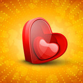 Happy Valentine's Day background with glossy red hearts on golde — ストックベクタ