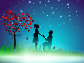 Beautiful St. Valentine's Day night background with silhouette o — Stok Vektör
