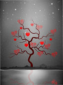 Valentine's Day love card or greeting card with love tree on gre — Stock Vector