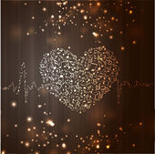 Happy Valentine's Day love background, greeting card with musica — Stock Vector