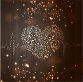 Счастливый день Святого Валентина любовь фон, открытка с musica — Cтоковый вектор