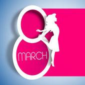 Kobiety szczęśliwy dzień karty z życzeniami, karty prezent na różowym tle wi — Wektor stockowy