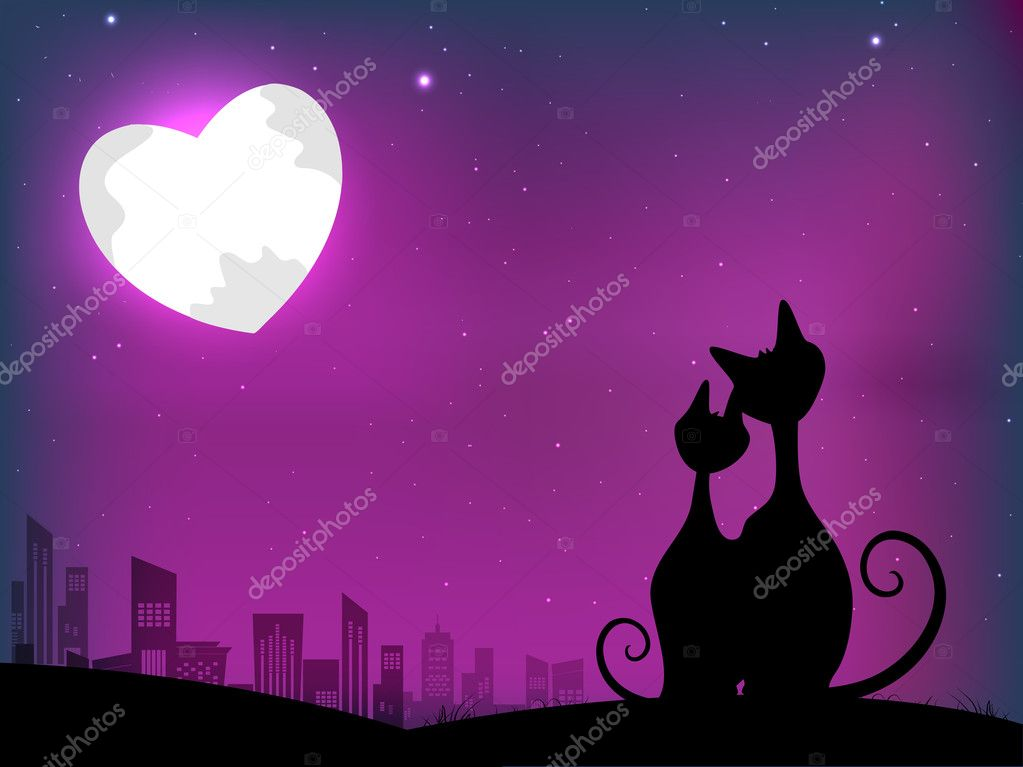 Love Cats Moon Cats in Love on Moon Light