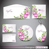 Professional corporate identity kit or business kit with floral design for your business includes CD Cover, Business Card, Envelope and tags. EPS 10. — Stock Vector