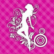 White silhouette of a happy girl on floral decorated pink backgr — Διανυσματικό Αρχείο