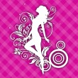 White silhouette of a happy girl on floral decorated pink backgr — Stock Vector