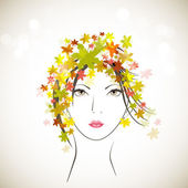 Sketch of a beautiful girl with decorated hairs background or ca — Stock Vector