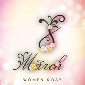 Happy Women's Day background or greeting card with text Women's — Stock Vector