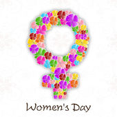 Happy Women's Day background with flowers decorated feminine sym — Stock Vector
