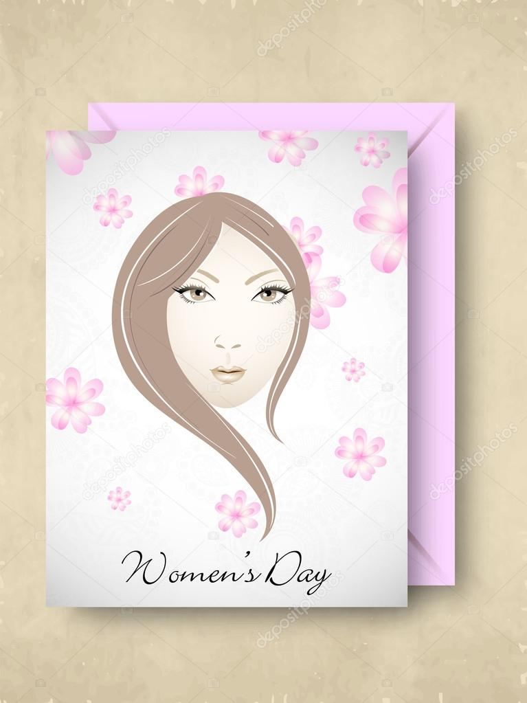 Happy Women's Day greeting card or gift card with pink envelop design with a girl face. — Stock Vector #20805027