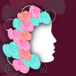 White silhouette of a girl face with colorful roses decorated he - Imagens vectoriais em stock