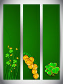 Website banner set for St. Patrick's Day celebration with shamro — Stockvektor