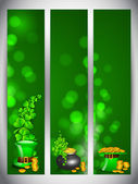 Website banner set for St. Patrick's Day celebration with shamro — Stock Vector