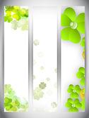Banner sito impostato per festa di St. Patrick Day con shamro — Vettoriale Stock