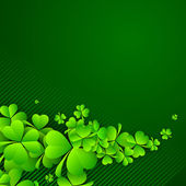 Irish four leaf lucky clovers background for Happy St. Patrick's — Stock vektor